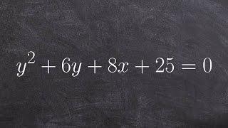 Pre Calculus Conics How To Graph A Horizontal Parabola Y28x6y250
