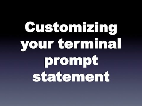 Customizing your terminal prompt statement