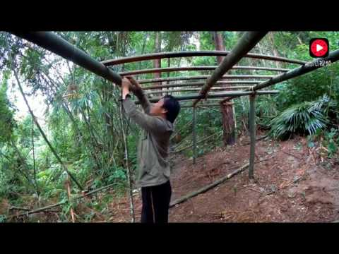 Chinese uncle with bamboo in the jungle to build