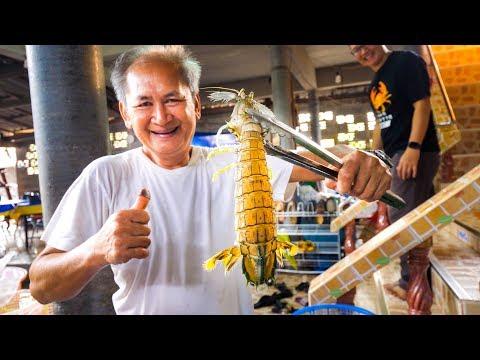 HUGE ALIEN MANTIS SHRIMP and Mud Crab!! Ultimate Thai Food Tour of Trat, Thailand!