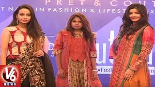 Models Ramp Walk Attracts At Sutraa Exhibition Logo Launch Event   Hyderabad   V6 News