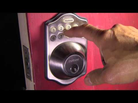 How to set the combination on a kwikset electronic lock - filmed with a Vixia Canon camera