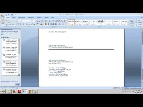 SQL Server tutorial 63: Using the EXECUTE Keyword.