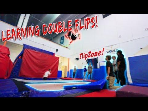LEARNING DOUBLE FLIPS! *super trampoline*