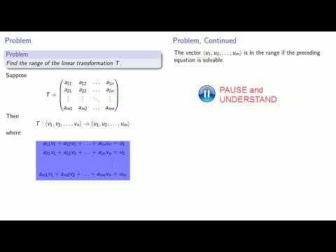 Range of a Linear Transformation
