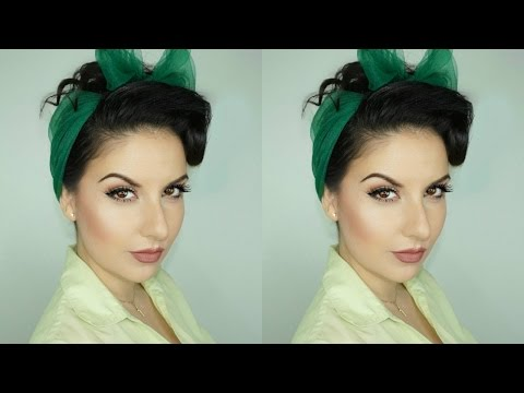 How to Create a PinUp Hairstyle with Scarf for Long Hair | Nena Moreno