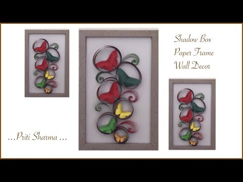 DIY : 3D Shadow Box Paper Frame Wall Art / Shadow Box Frame For Room Decoration   Priti Sharma
