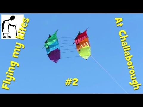 Flying my kites at Challaborough #2 Triple Star Box Kite