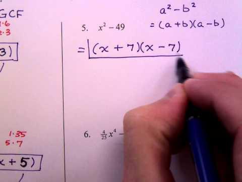 College Algebra Homework 2 (More Factoring)