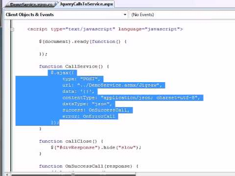how to call a web service using jquery