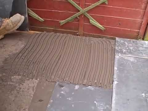 Laying slate on a solid concrete base (using adhesive)