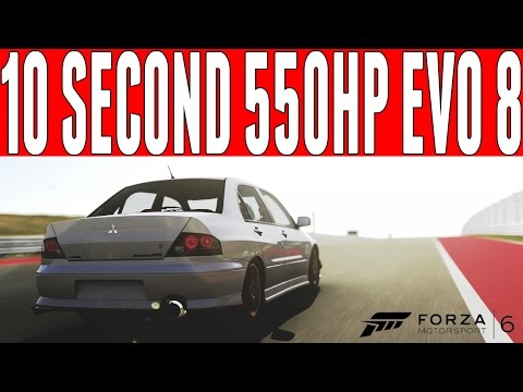Forza 6 Evo 8 Drag Build : 10 Second 550HP Mitsubishi Lancer Evolution 8 Drag Build