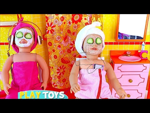Play AG Doll Day Spa in Doll Bathroom & Bedroom w/ Doll Bunk Bed, Dress up Closet in Baby Dollhouse!