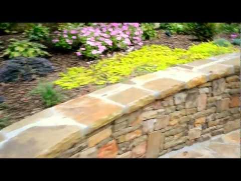 Back Yard Stone Retaining Wall and Flowers