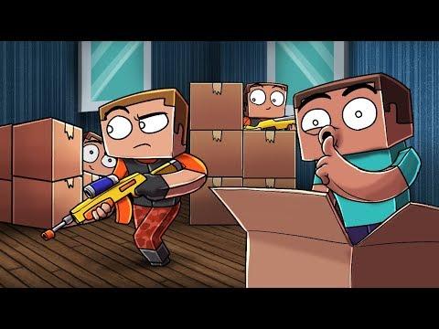 Minecraft - NERF BOX FORT HIDE AND SEEK CHALLENGE! (Nerf War Mod)