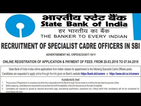State Bank of India (SBI) Recruitment 2018 | All over India Jobs  | Latest Bank jobs