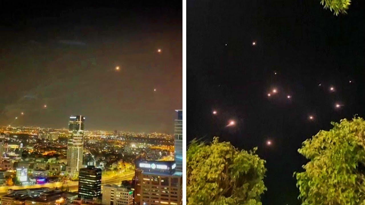Tel Aviv: Iron Dome filmed intercepting barrage of rockets over Israel