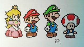 Dessin mario bros pixel art daikhlo - Comment dessiner peach ...