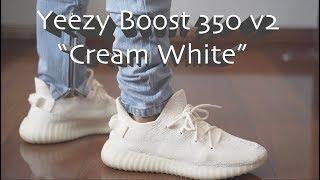 56828e56f93a7 Yeezy Boost 350 v2 Cream White w  On Feet