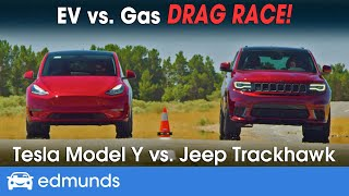 Drag Race! Tesla Model Y vs. Jeep Trackhawk - Racing 2 of the Fastest SUVs | 0-60 Performance & More