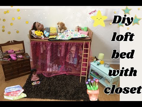 DIY cardboard loft bed with closet 18inch doll furniture Journey girl AG