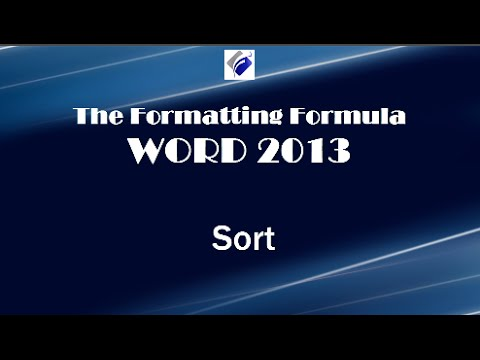 Word 2013   Sort   Learn How to Sort Text, Numbers and Columns