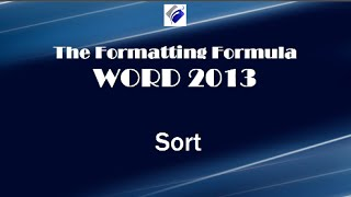 Word 2013 Sort Learn How To Sort Text Numbers And Columns
