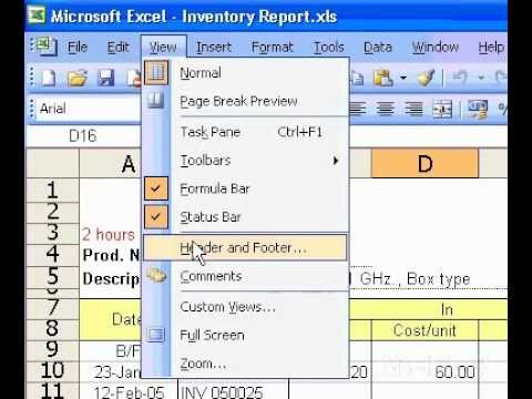 Microsoft Office Excel 2003 Insert date and time in a header or footer