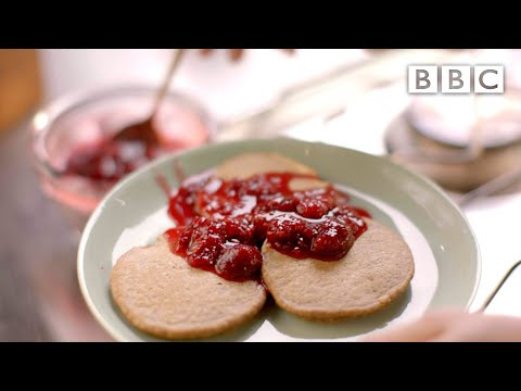 Oat pancakes with raspberries and honey recipe - Simply Nigella: Episode 3 - BBC Two