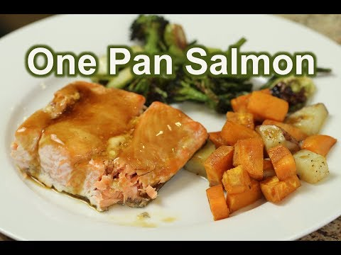 Easy Dinner One Pan Salmon and Vegetables With Teriyaki Sauce | Rockin Robin Cooks