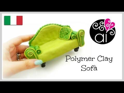 Polymer clay sofà | Tutorial Cake Topper Fimo | Miniatura Divano