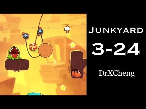Cut the Rope 2 Walkthrough - Junkyard 3-24 - 3 Stars + Medal [HD]