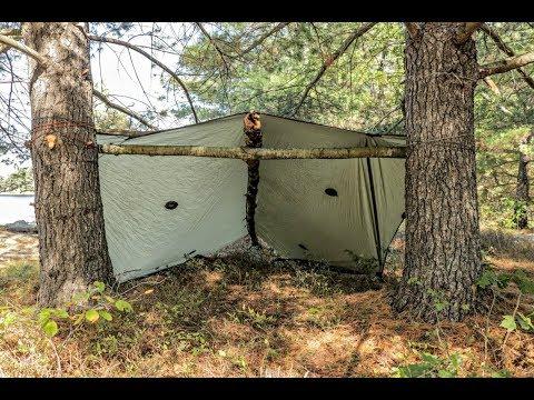 Solo Overnight Tarp Camp, Wool Blanket, Solitude.