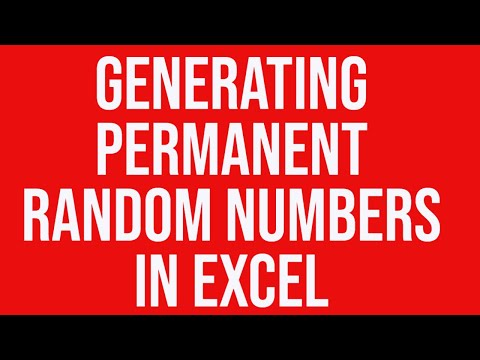 Generating permanent random numbers in Excel for Statistical Analysis