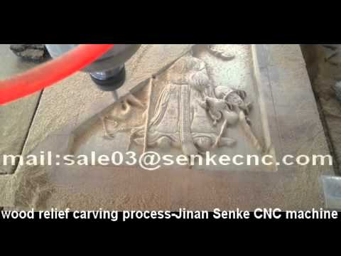 wood Relief Crafting engraving carving process-Jinan Senke CNC Machine Co.,Ltd..mp4
