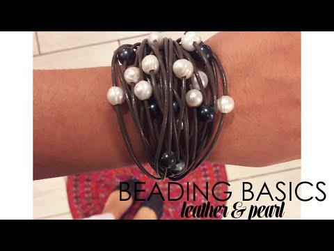 Beading Basics Leather & Pearl Bracelet