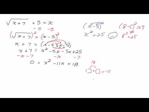 Solving Radical Equation that Results in a Quadratic Equation