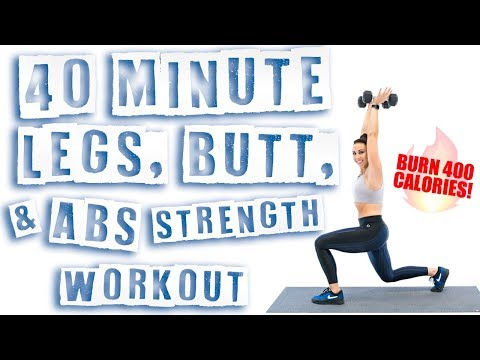 40 Minute Legs, Butt, and Abs Strength Workout 🔥Burn 400 Calories! 🔥