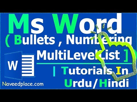 MS Word – Bullets , Numbering , Multilevel List - Tutorials | In Urdu/Hindi