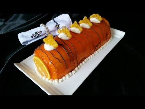 Orange Swiss roll cake -  كيك السويسرول الرائع بالكريمة و البرتقال - Gateau roulé aux oranges