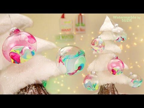 DIY: Watermarble Christmas Tree Ornaments