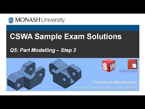 SolidWorks CSWA Practice Exam Solutions Part 5: Q5 Part Modelling p3