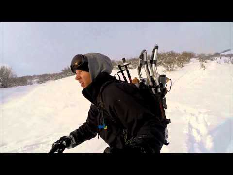 Snowshoeing and Snowboarding Dry Canyon, Utah (HD)