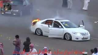 لحظة أحتراق سيارة عبدالله العسيري المعدلة 1434/8/22 ببللسمر