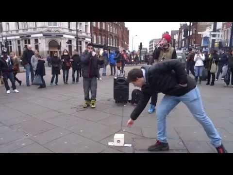Amazing Beatboxers BALL-ZEE & MC ZANI performing on Camden Market High Street, Camden Town, London.
