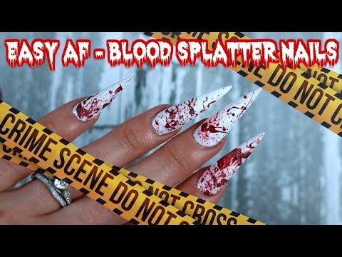 EASIEST HALLOWEEN NAILS EVER -BLOOD STAIN
