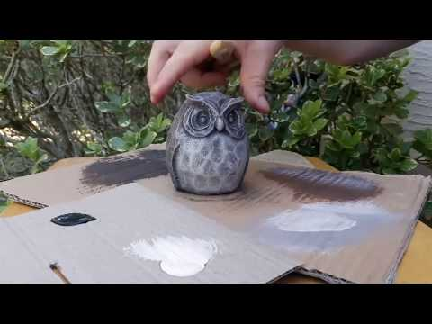 Painting a concrete owl statue to look like hand carved wood