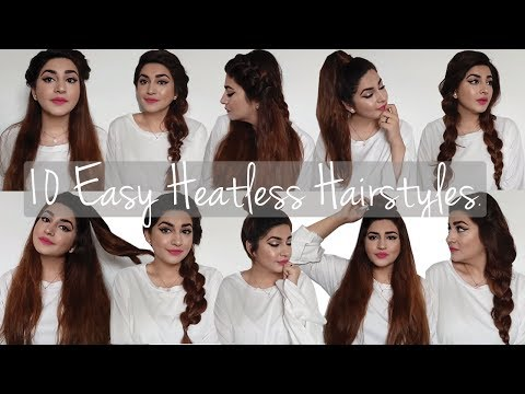10 Quick &  Heatless EveryDay Hairstyles | Long Hair | Glossips