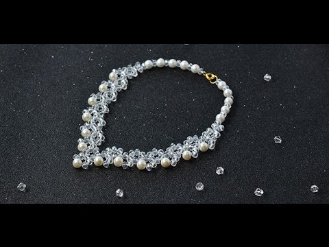 Pandahall Tutorial - How to Make Crystal Glass Bead Necklaces with White Pearl Beads