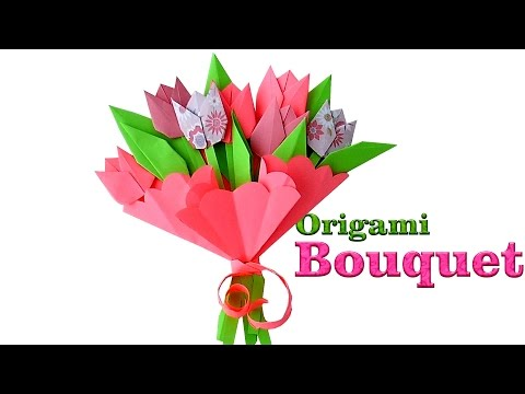 Origami Bouquet. How to make paper Tulips. Origami Flowers for Beginners